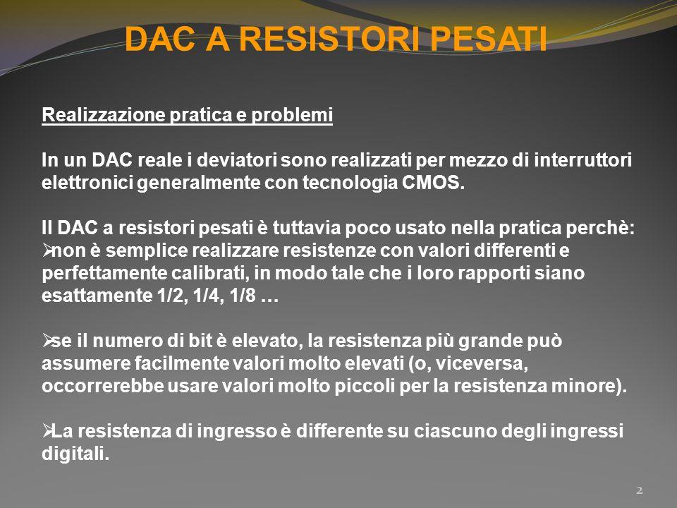 DAC A RESISTORI PESATI Realizzazione pratica e problemi