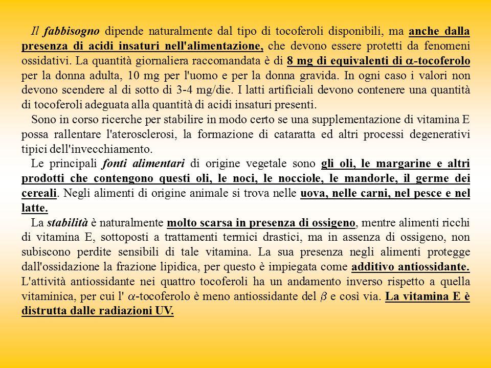Il fabbisogno dipende naturalmente dal tipo di tocoferoli disponibili, ma anche dalla presenza di acidi insaturi nell alimentazione, che devono essere protetti da fenomeni ossidativi. La quantità giornaliera raccomandata è di 8 mg di equivalenti di a-tocoferolo per la donna adulta, 10 mg per l uomo e per la donna gravida. In ogni caso i valori non devono scendere al di sotto di 3-4 mg/die. I latti artificiali devono contenere una quantità di tocoferoli adeguata alla quantità di acidi insaturi presenti.