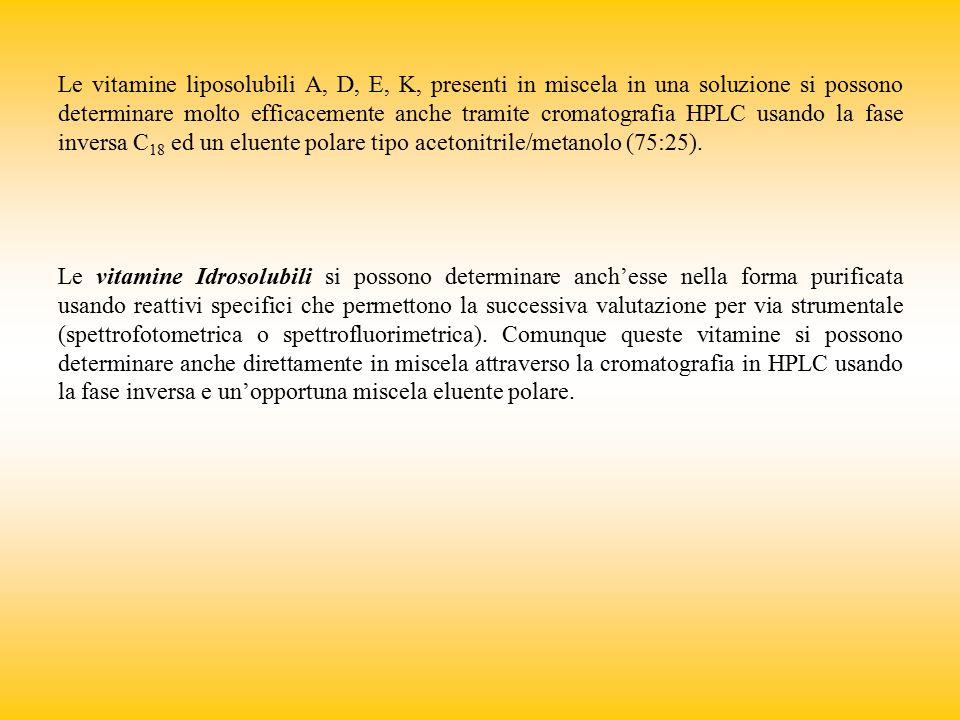 Le vitamine liposolubili A, D, E, K, presenti in miscela in una soluzione si possono determinare molto efficacemente anche tramite cromatografia HPLC usando la fase inversa C18 ed un eluente polare tipo acetonitrile/metanolo (75:25).