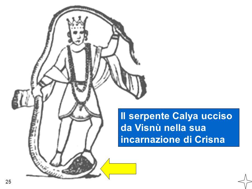 Il serpente Calya ucciso da Visnù nella sua incarnazione di Crisna