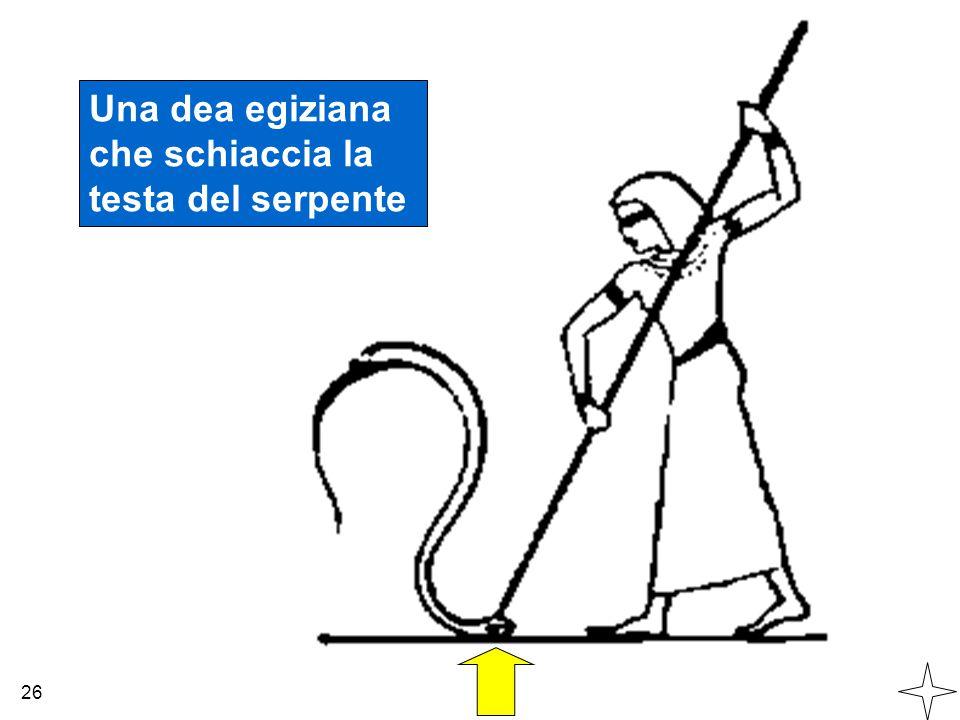 Una dea egiziana che schiaccia la testa del serpente