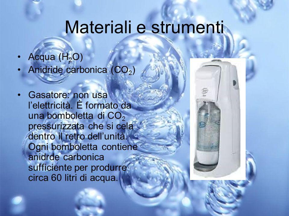 Materiali e strumenti Acqua (H2O) Anidride carbonica (CO2)