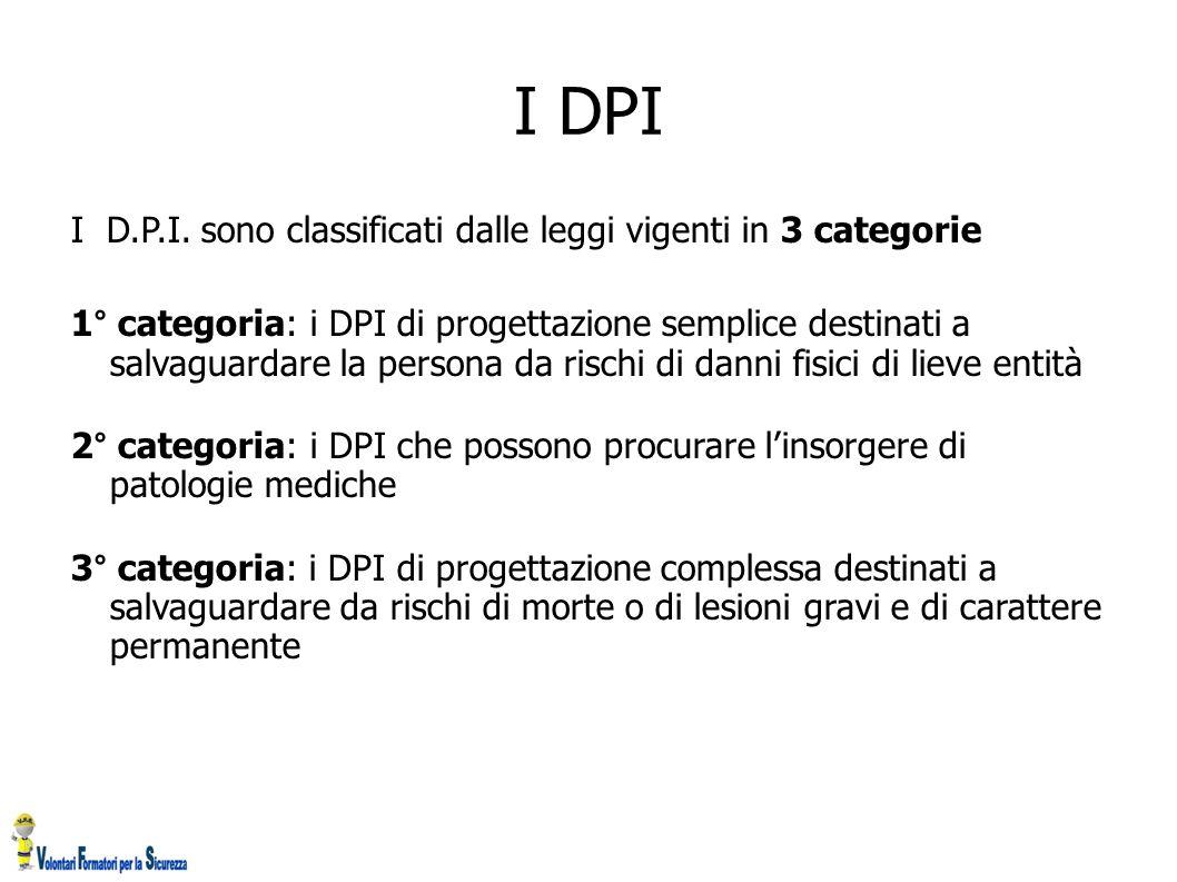 I DPI I D.P.I. sono classificati dalle leggi vigenti in 3 categorie