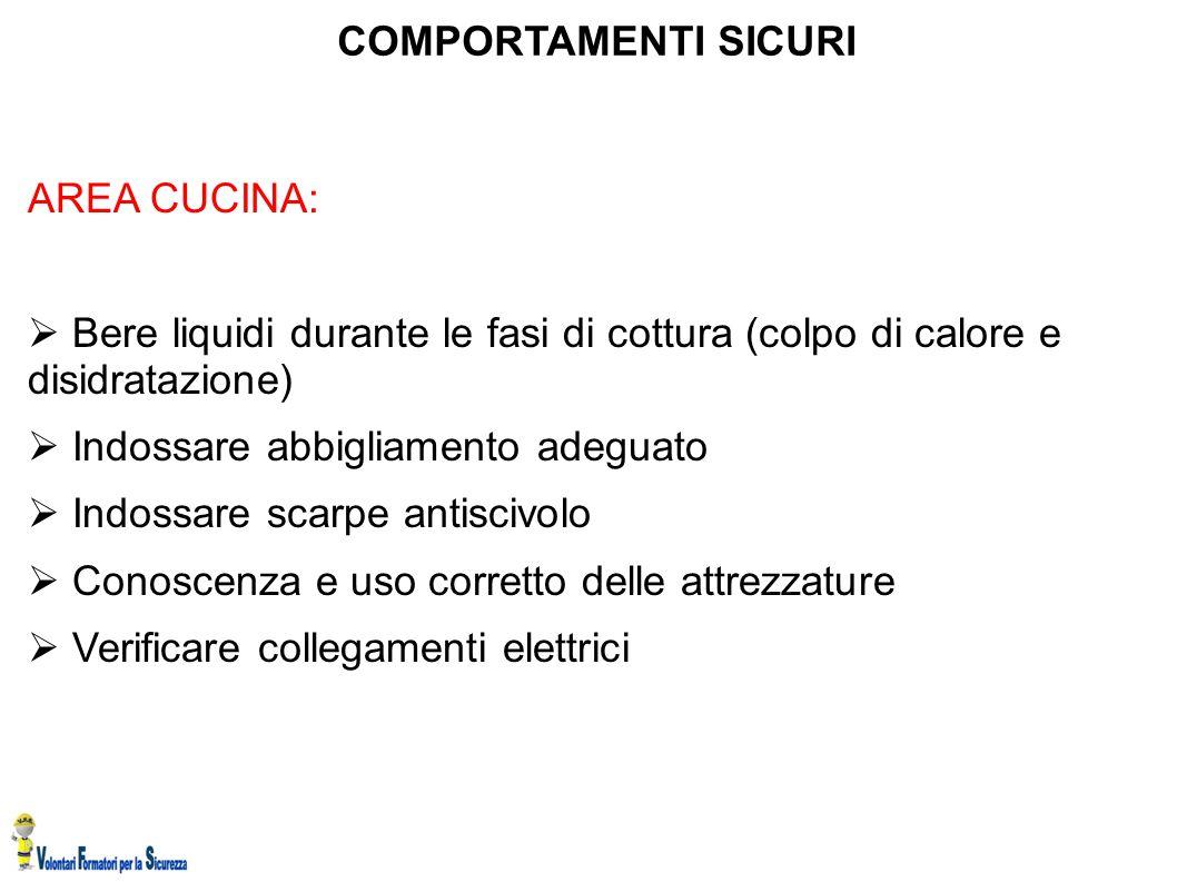 COMPORTAMENTI SICURI AREA CUCINA: Bere liquidi durante le fasi di cottura (colpo di calore e disidratazione)