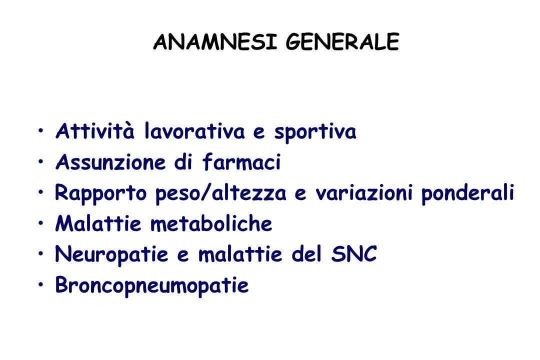ANAMNESI GENERALE Attività lavorativa e sportiva. Assunzione di farmaci. Rapporto peso/altezza e variazioni ponderali.
