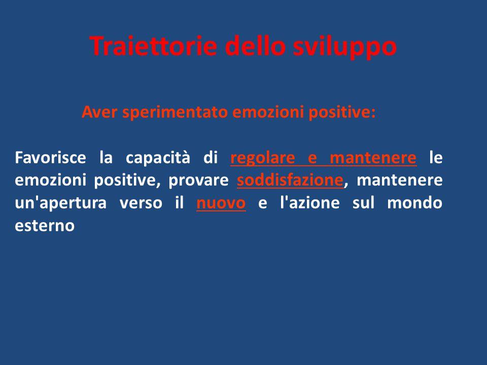 Traiettorie dello sviluppo Aver sperimentato emozioni positive: