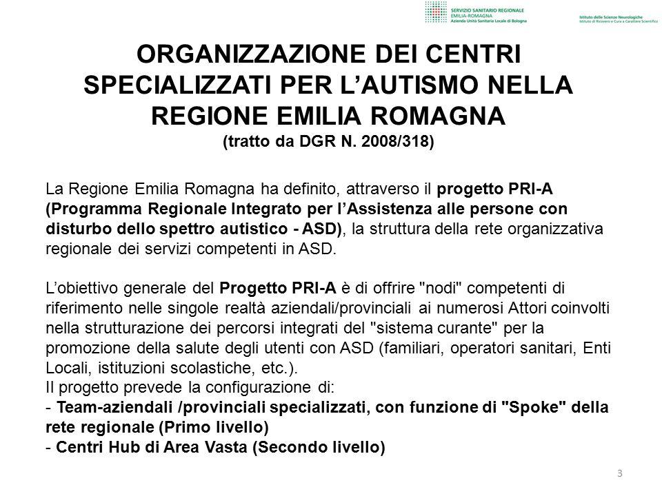ORGANIZZAZIONE DEI CENTRI SPECIALIZZATI PER L'AUTISMO NELLA REGIONE EMILIA ROMAGNA (tratto da DGR N. 2008/318)