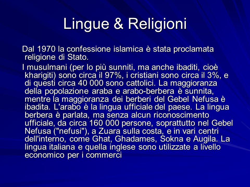 Lingue & Religioni Dal 1970 la confessione islamica è stata proclamata religione di Stato.