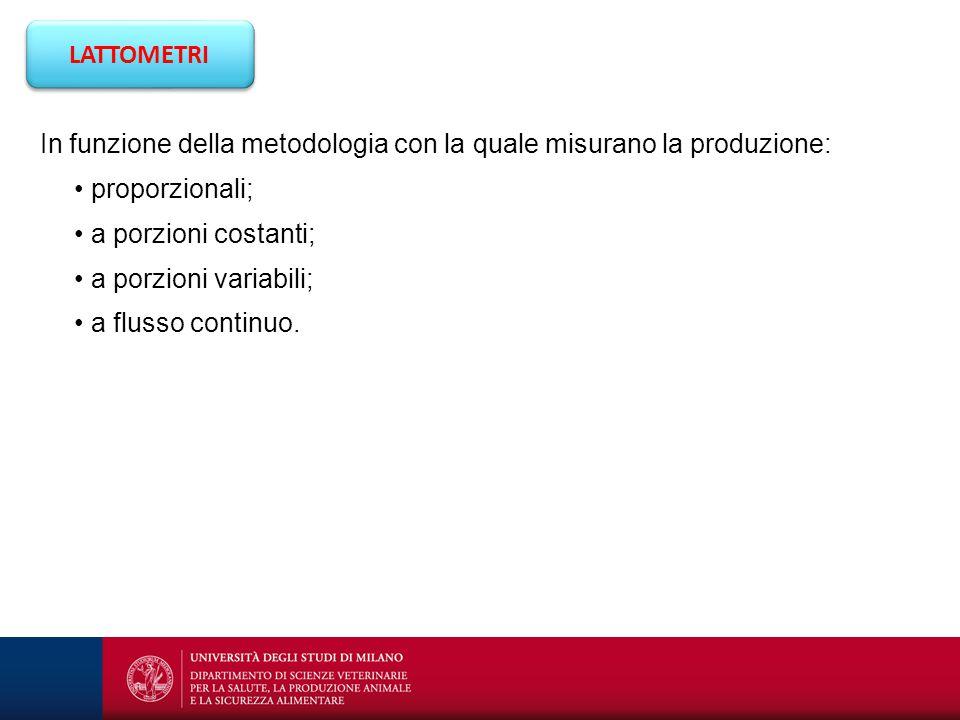 LATTOMETRI In funzione della metodologia con la quale misurano la produzione: • proporzionali; • a porzioni costanti;