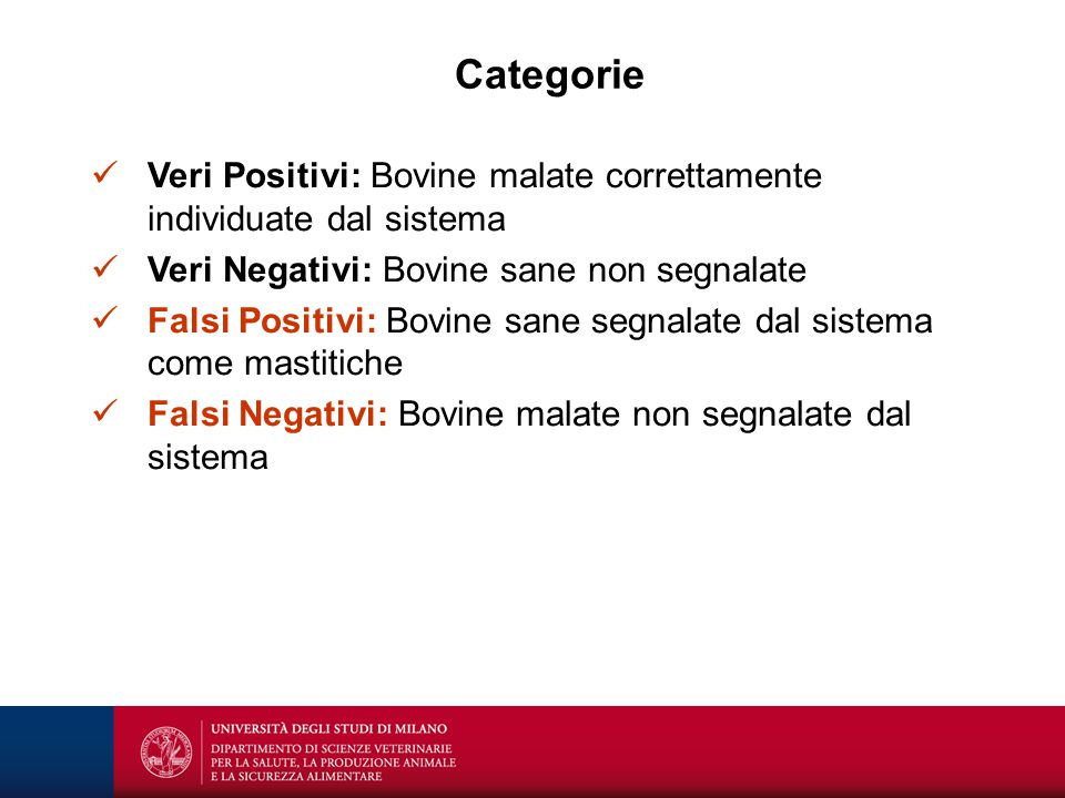 Categorie Veri Positivi: Bovine malate correttamente individuate dal sistema. Veri Negativi: Bovine sane non segnalate.