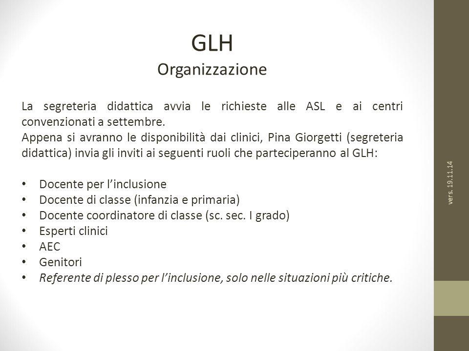 GLH Organizzazione. La segreteria didattica avvia le richieste alle ASL e ai centri convenzionati a settembre.