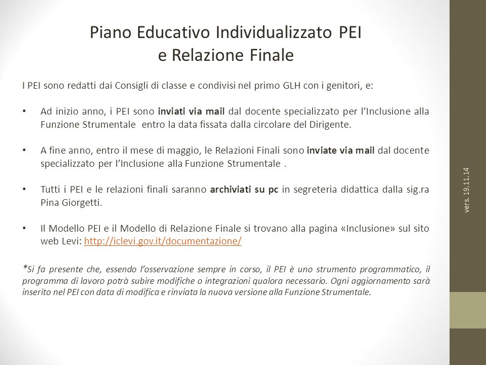 Piano Educativo Individualizzato PEI