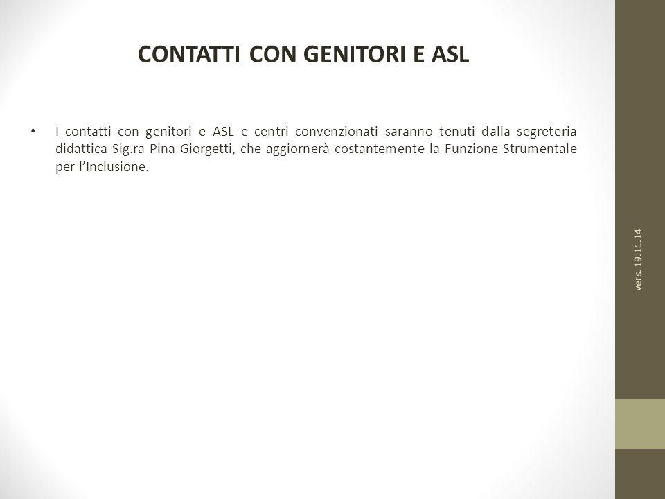 CONTATTI CON GENITORI E ASL