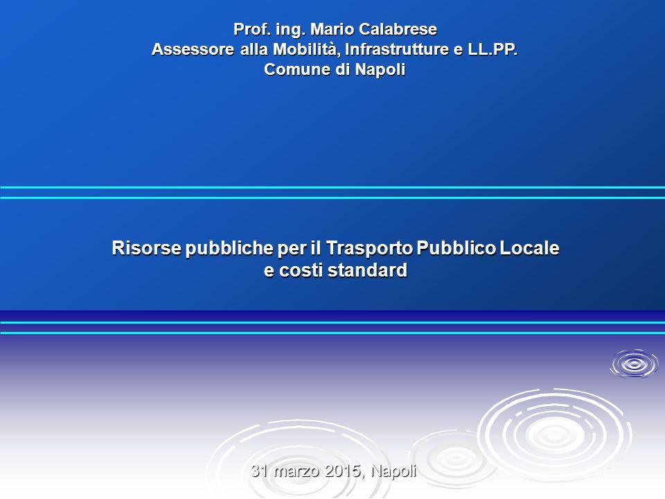 Risorse pubbliche per il Trasporto Pubblico Locale e costi standard