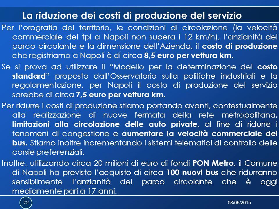La riduzione dei costi di produzione del servizio