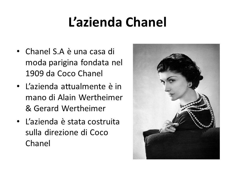 L'azienda Chanel Chanel S.A è una casa di moda parigina fondata nel 1909 da Coco Chanel.