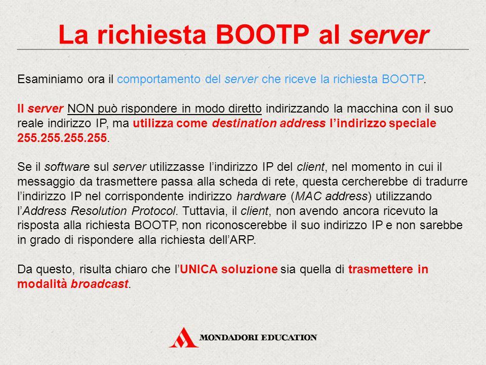 La richiesta BOOTP al server