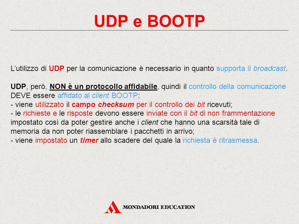 UDP e BOOTP L'utilizzo di UDP per la comunicazione è necessario in quanto supporta il broadcast.