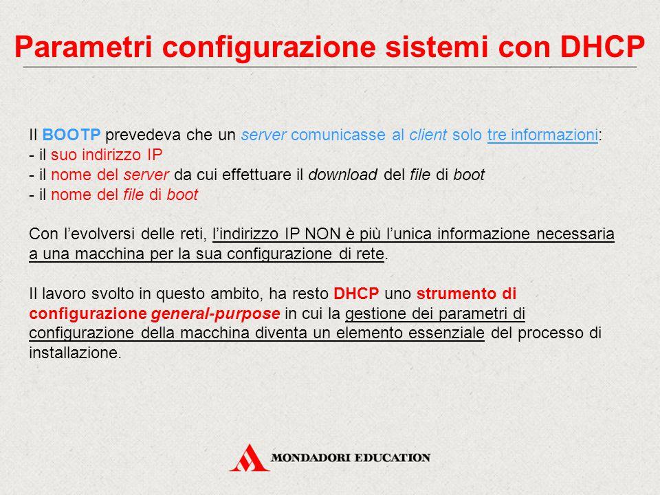 Parametri configurazione sistemi con DHCP