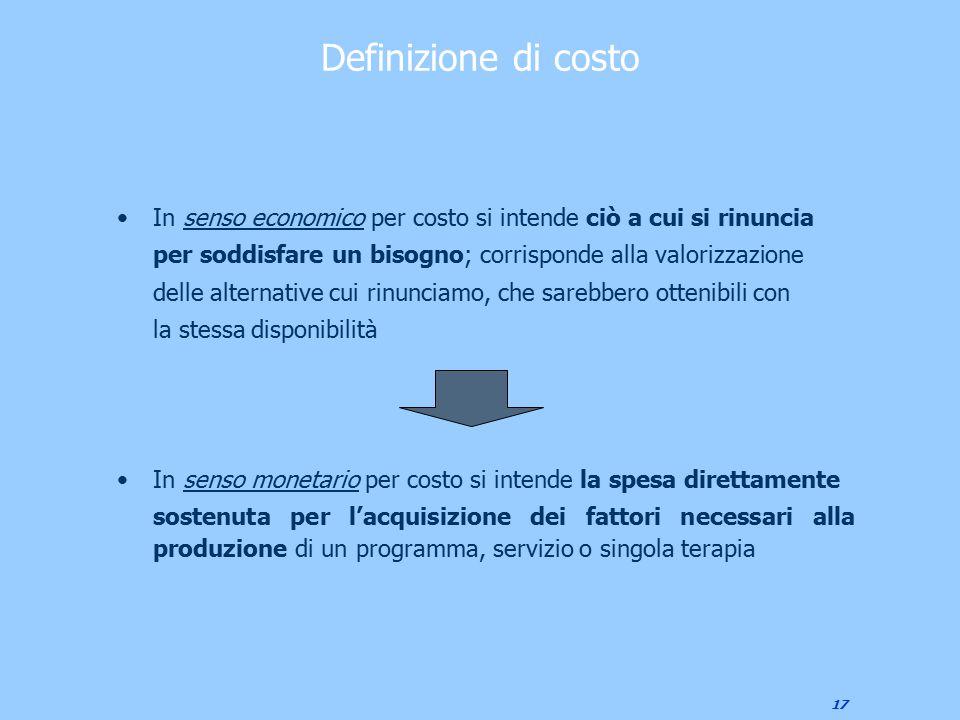 Definizione di costo In senso economico per costo si intende ciò a cui si rinuncia. per soddisfare un bisogno; corrisponde alla valorizzazione.
