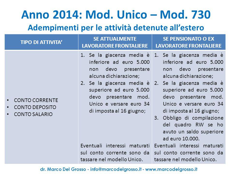 Anno 2014: Mod. Unico – Mod. 730 Adempimenti per le attività detenute all'estero