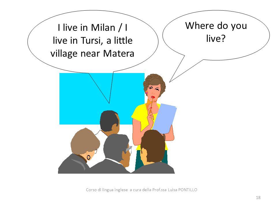 I live in Milan / I live in Tursi, a little village near Matera