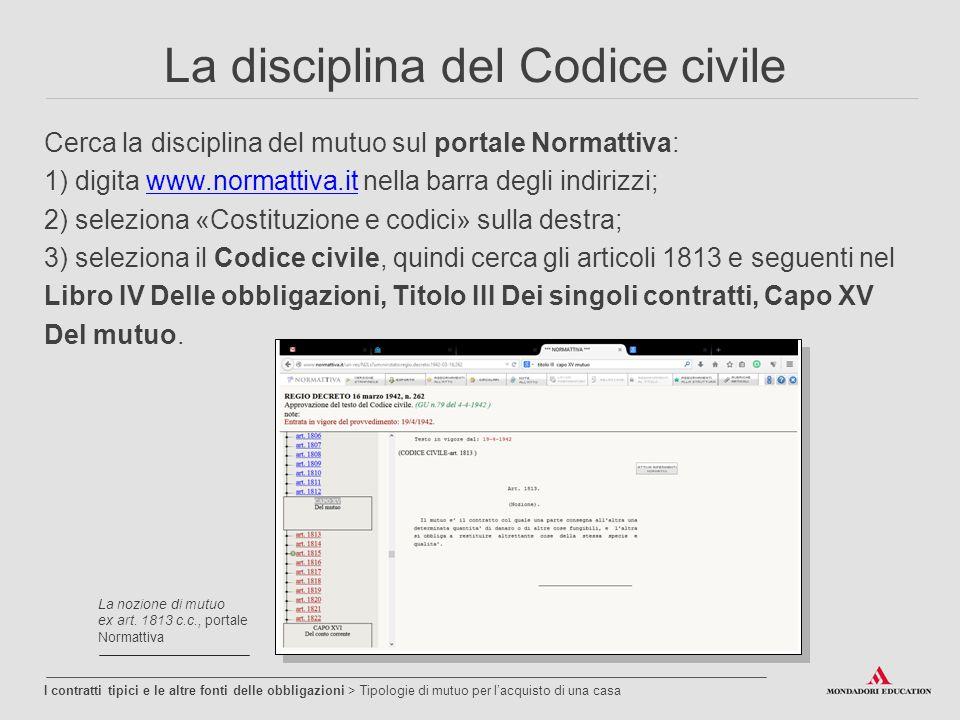 La disciplina del Codice civile