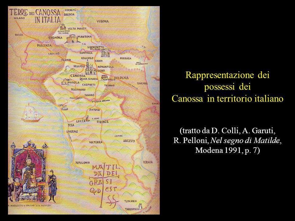 Rappresentazione dei possessi dei Canossa in territorio italiano (tratto da D.