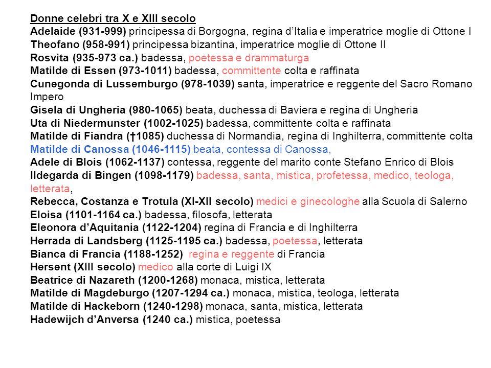 Donne celebri tra X e XIII secolo