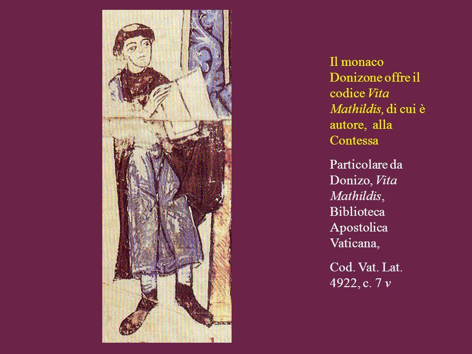 Il monaco Donizone offre il codice Vita Mathildis, di cui è autore, alla Contessa