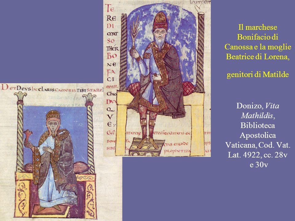 Il marchese Bonifacio di Canossa e la moglie Beatrice di Lorena, genitori di Matilde Donizo, Vita Mathildis, Biblioteca Apostolica Vaticana, Cod.