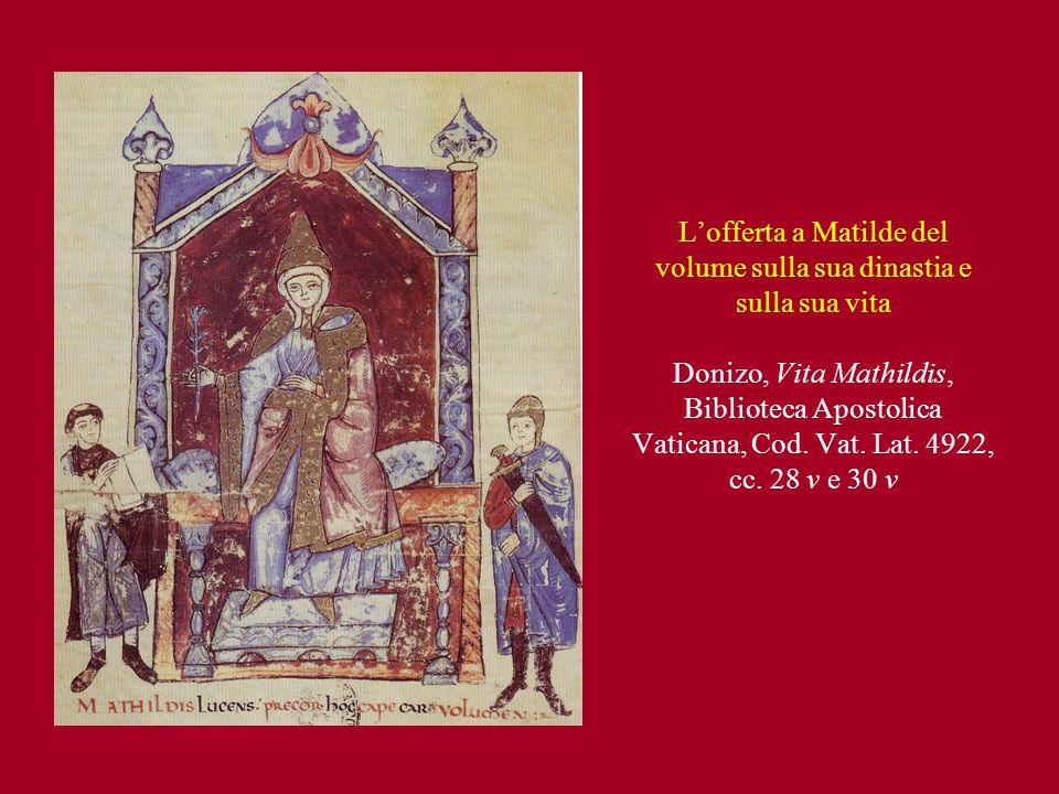 L'offerta a Matilde del volume sulla sua dinastia e sulla sua vita Donizo, Vita Mathildis, Biblioteca Apostolica Vaticana, Cod.