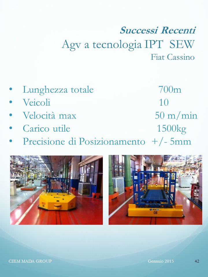 Successi Recenti Agv a tecnologia IPT SEW Fiat Cassino