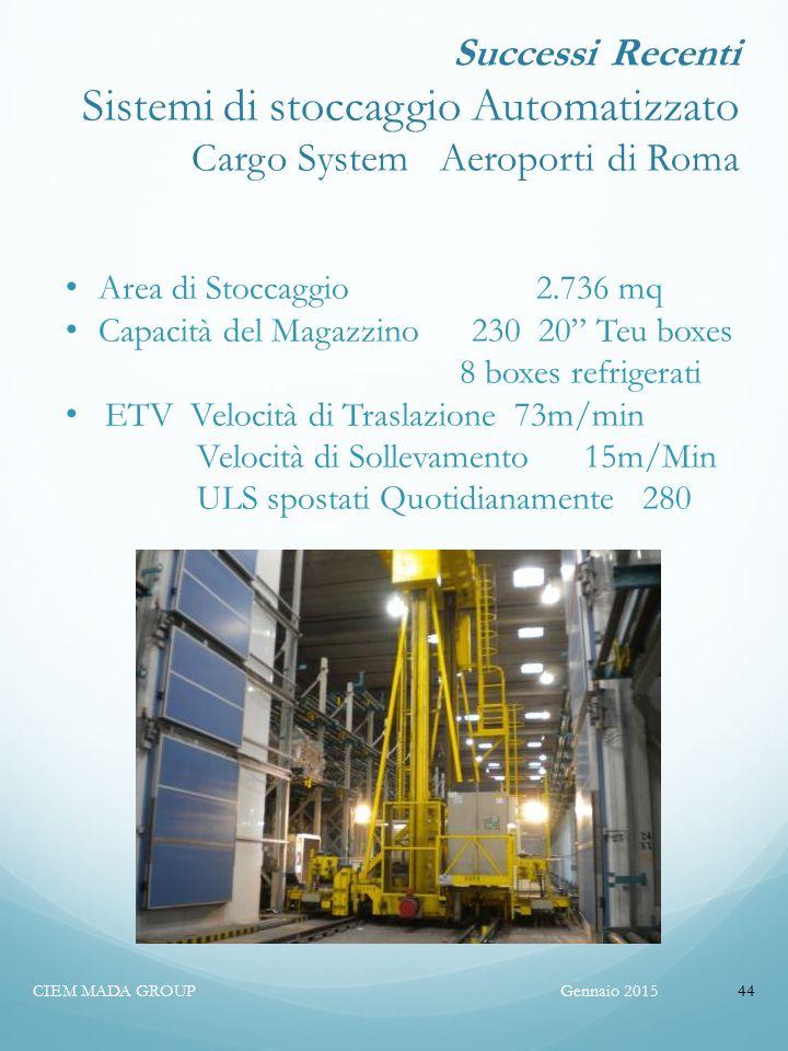 Successi Recenti Sistemi di stoccaggio Automatizzato Cargo System Aeroporti di Roma
