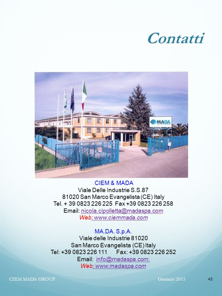 Contatti CIEM & MADA Viale Delle Industrie S.S.87