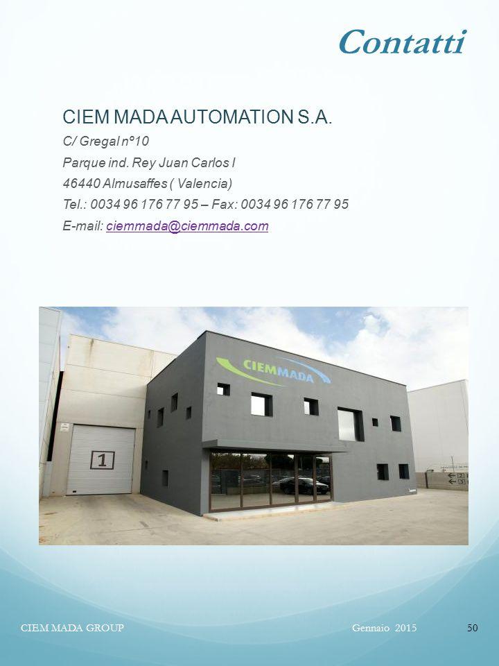 Contatti CIEM MADA AUTOMATION S.A. C/ Gregal nº10