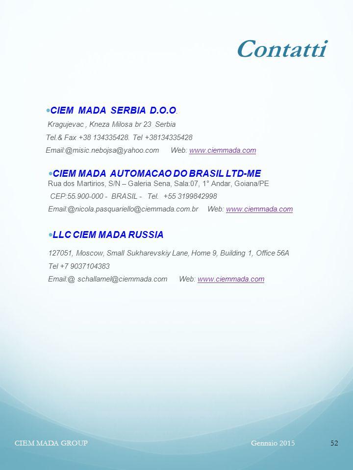 Contatti CIEM MADA SERBIA D.O.O. CIEM MADA AUTOMACAO DO BRASIL LTD-ME
