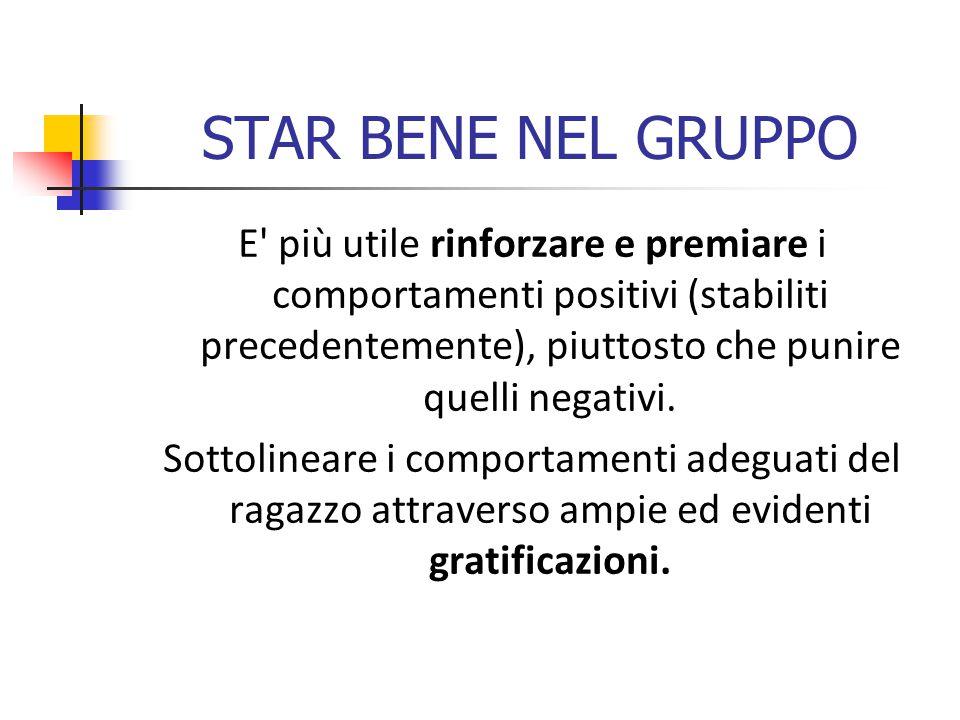 STAR BENE NEL GRUPPO E più utile rinforzare e premiare i comportamenti positivi (stabiliti precedentemente), piuttosto che punire quelli negativi.