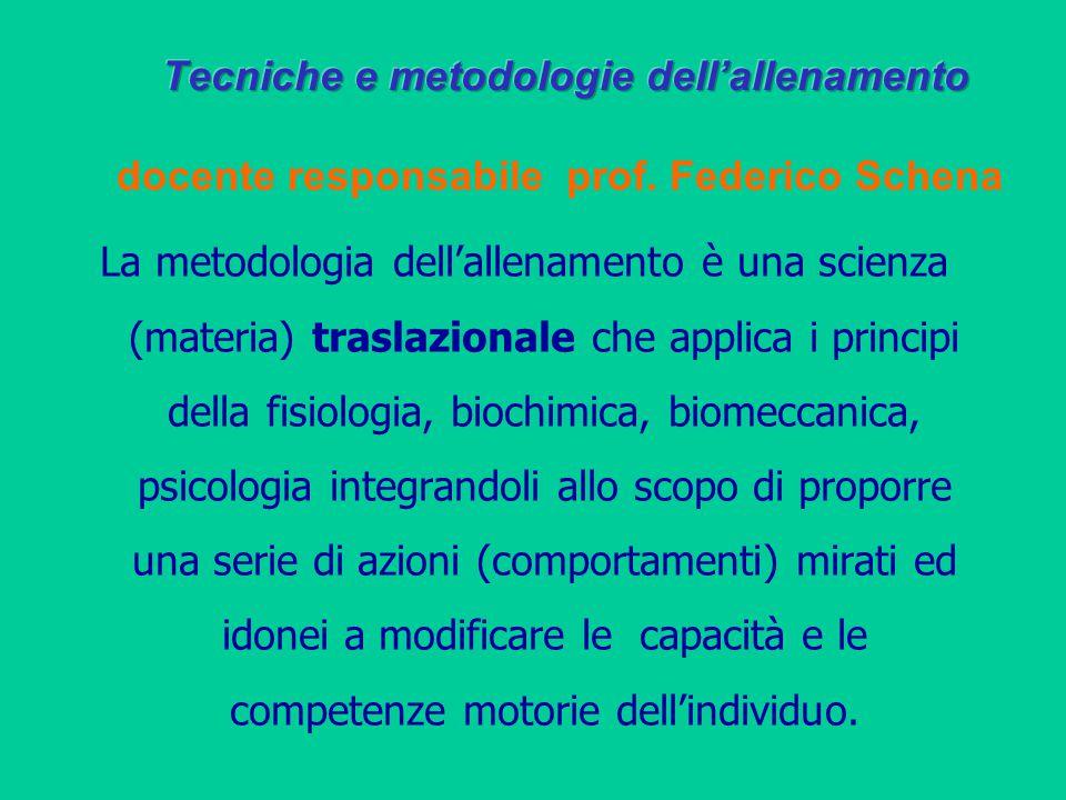 Tecniche e metodologie dell'allenamento docente responsabile prof