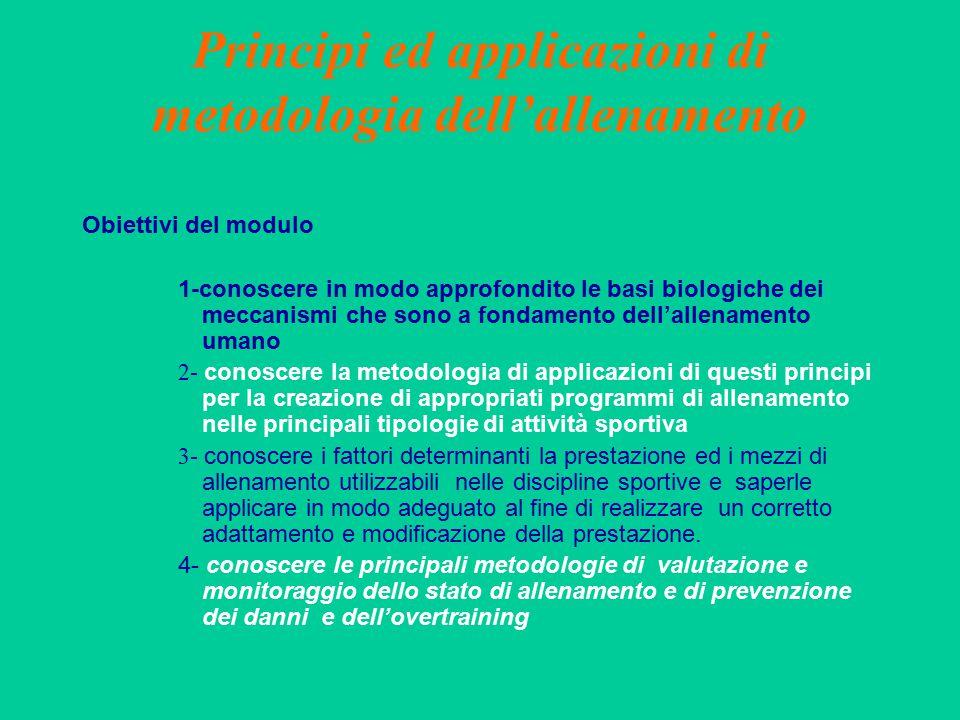 Principi ed applicazioni di metodologia dell'allenamento