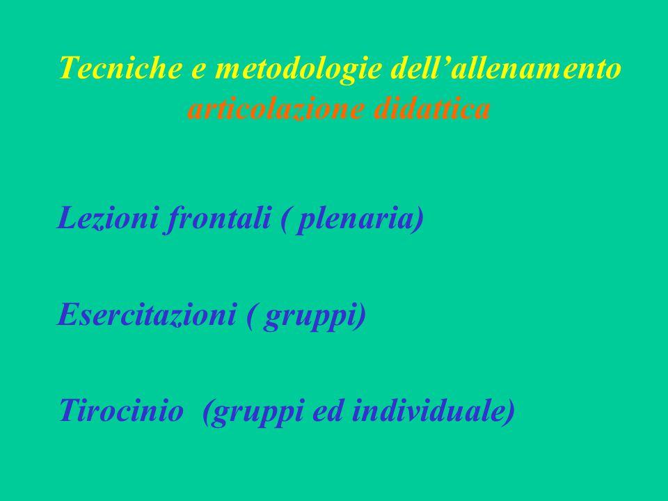 Tecniche e metodologie dell'allenamento articolazione didattica