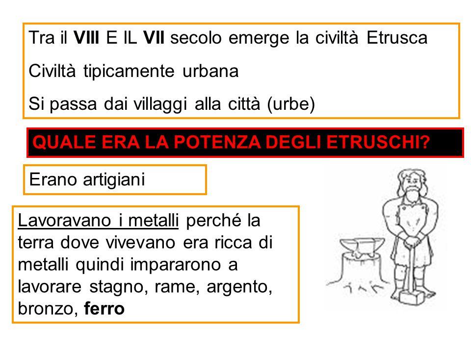 Tra il VIII E IL VII secolo emerge la civiltà Etrusca