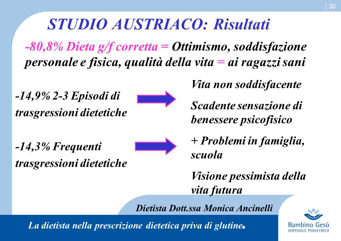 STUDIO AUSTRIACO: Risultati