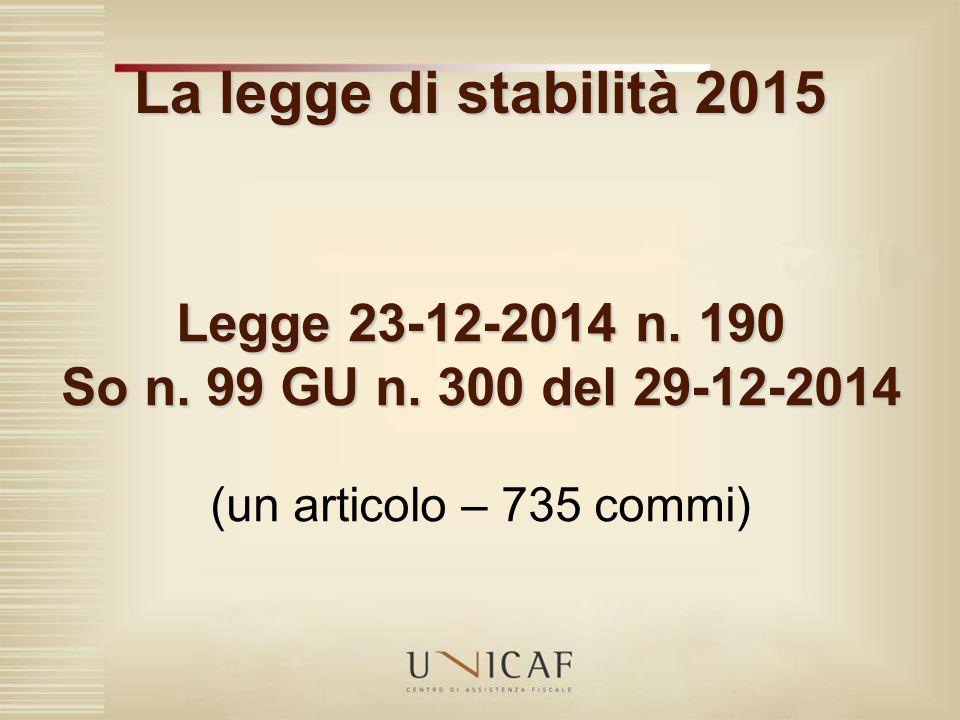 La legge di stabilità 2015 Legge 23-12-2014 n. 190