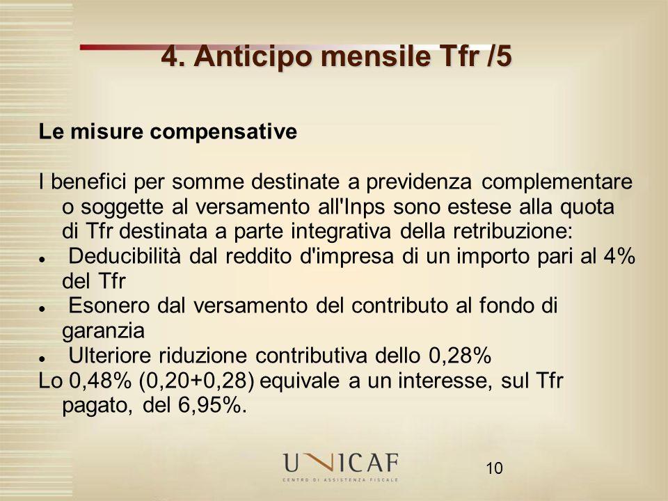4. Anticipo mensile Tfr /5 Le misure compensative