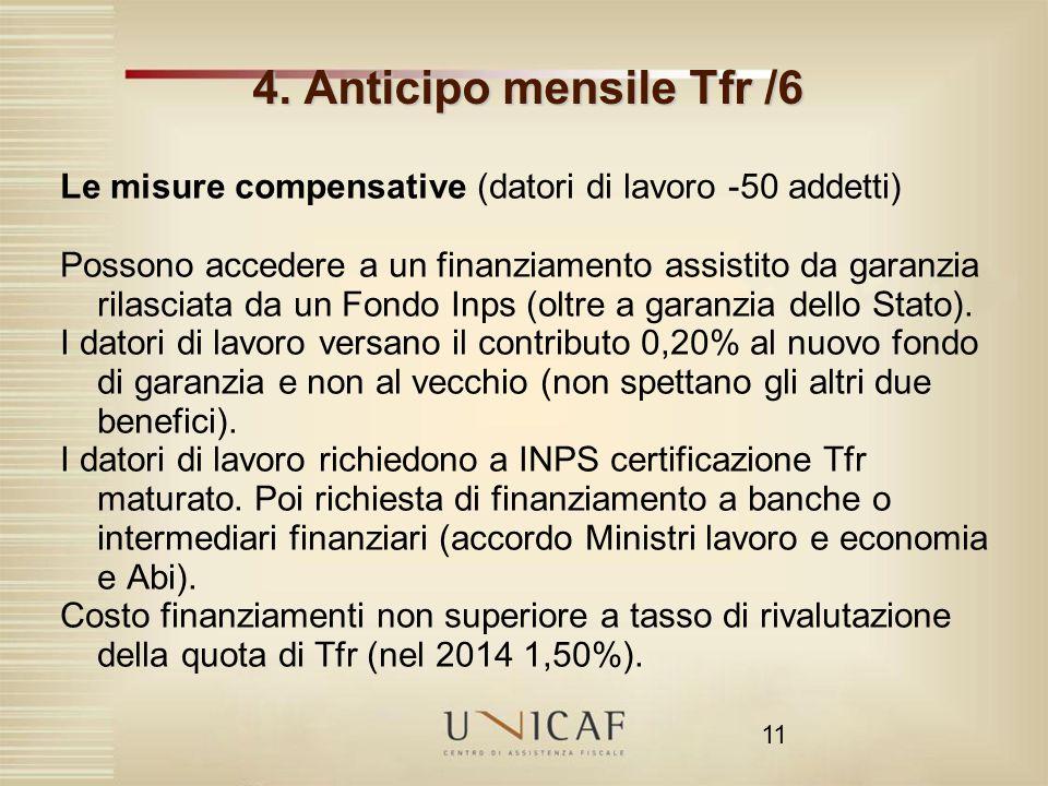 4. Anticipo mensile Tfr /6 Le misure compensative (datori di lavoro -50 addetti)