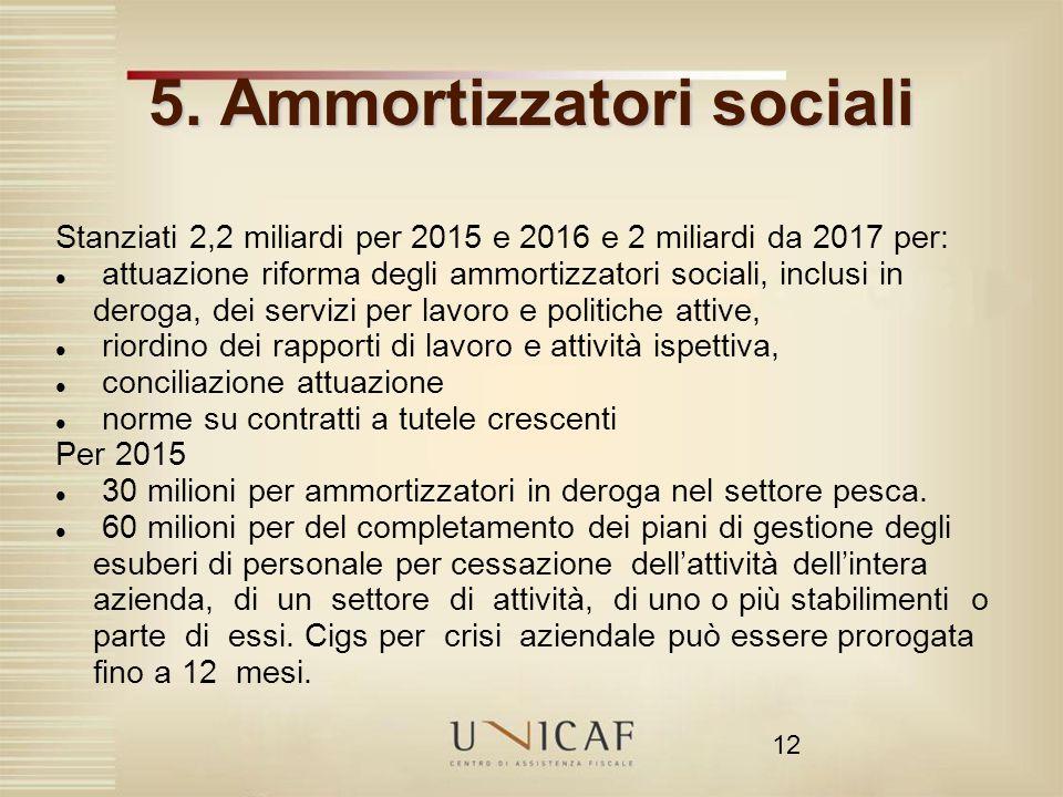 5. Ammortizzatori sociali
