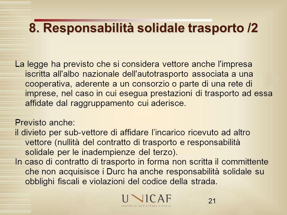 8. Responsabilità solidale trasporto /2