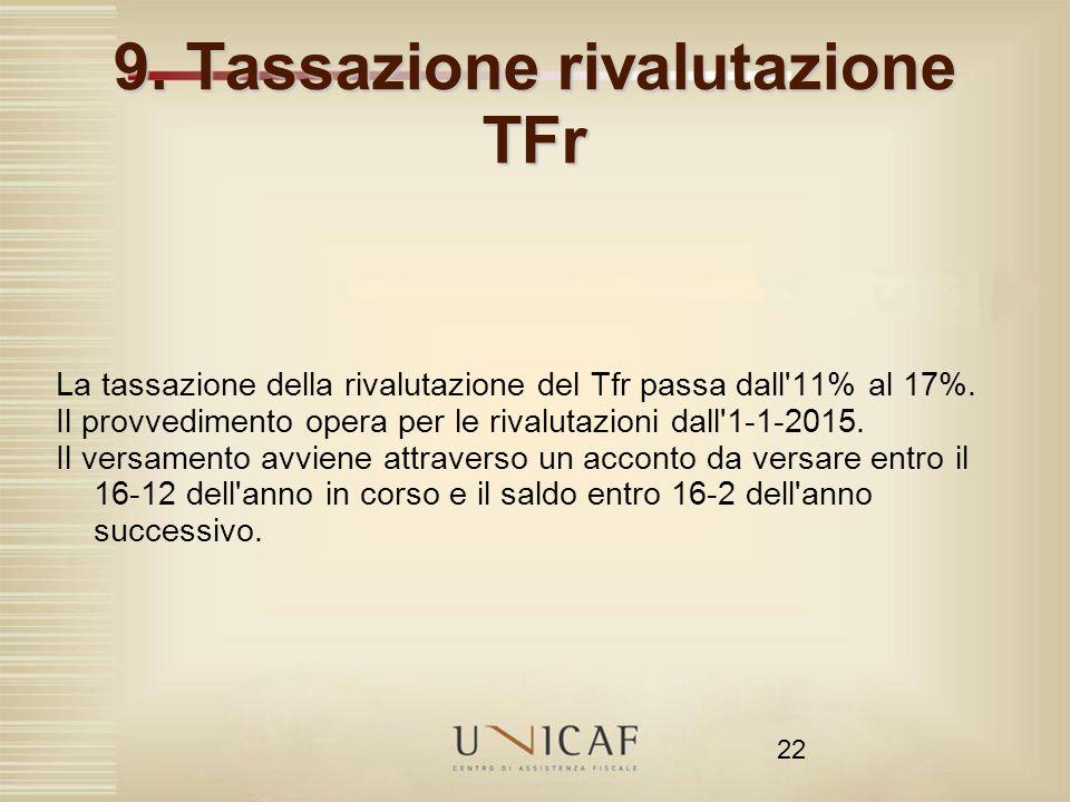 9. Tassazione rivalutazione TFr