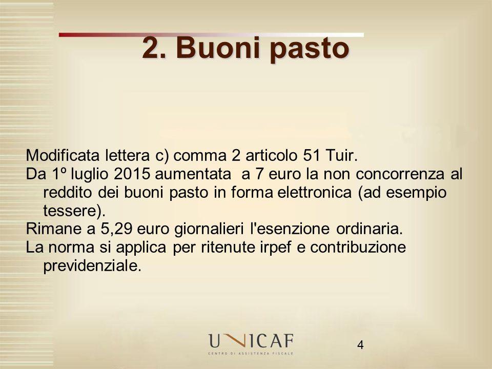 2. Buoni pasto Modificata lettera c) comma 2 articolo 51 Tuir.